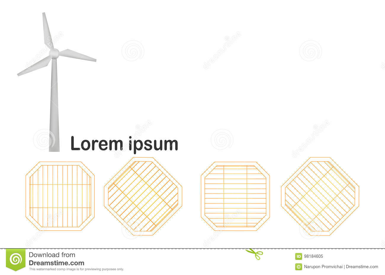 Wind Turbine With Solar Panels Isolated On White Background  Stock