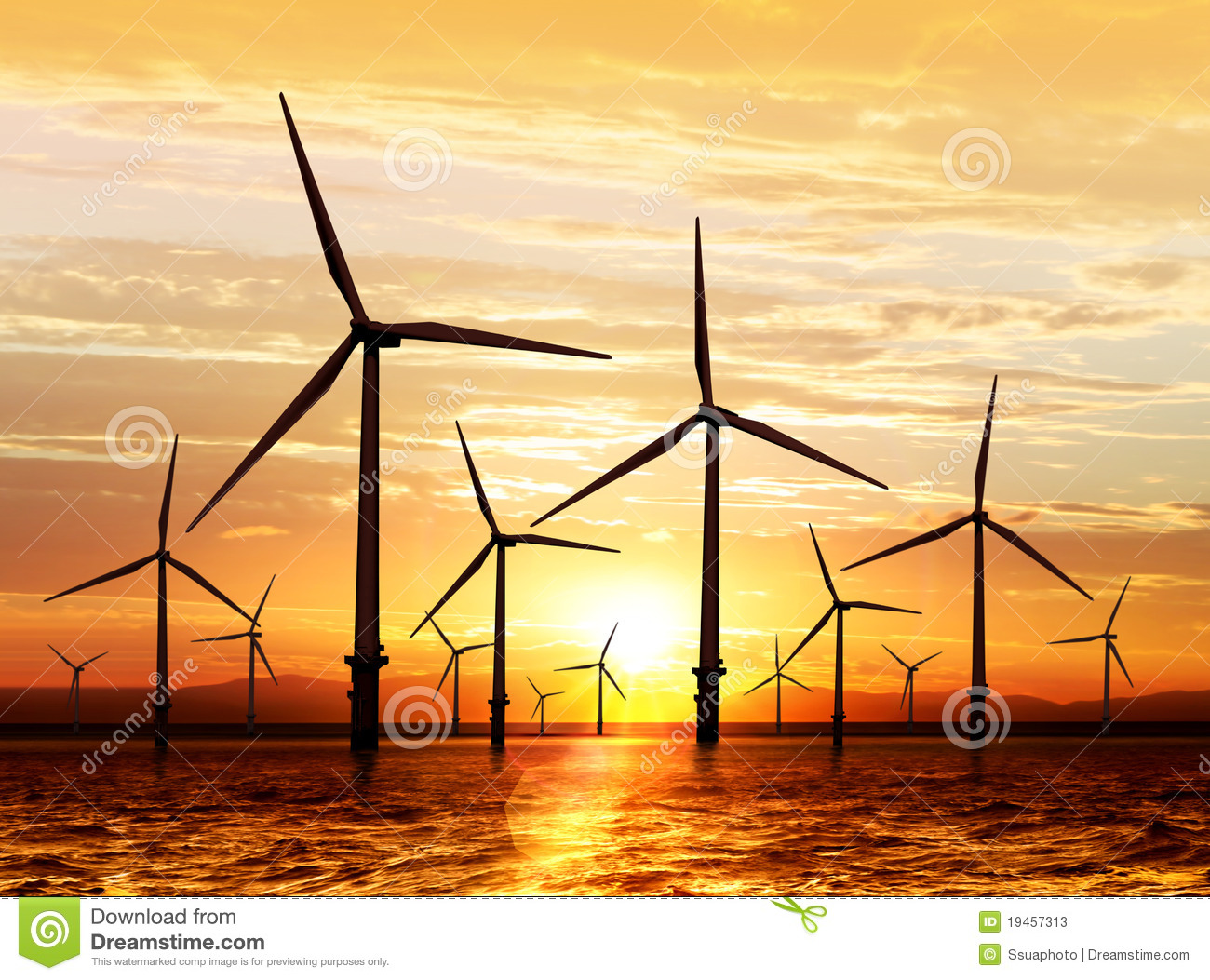 Wind Turbine On Sunset Stock Photos - Image: 19457313