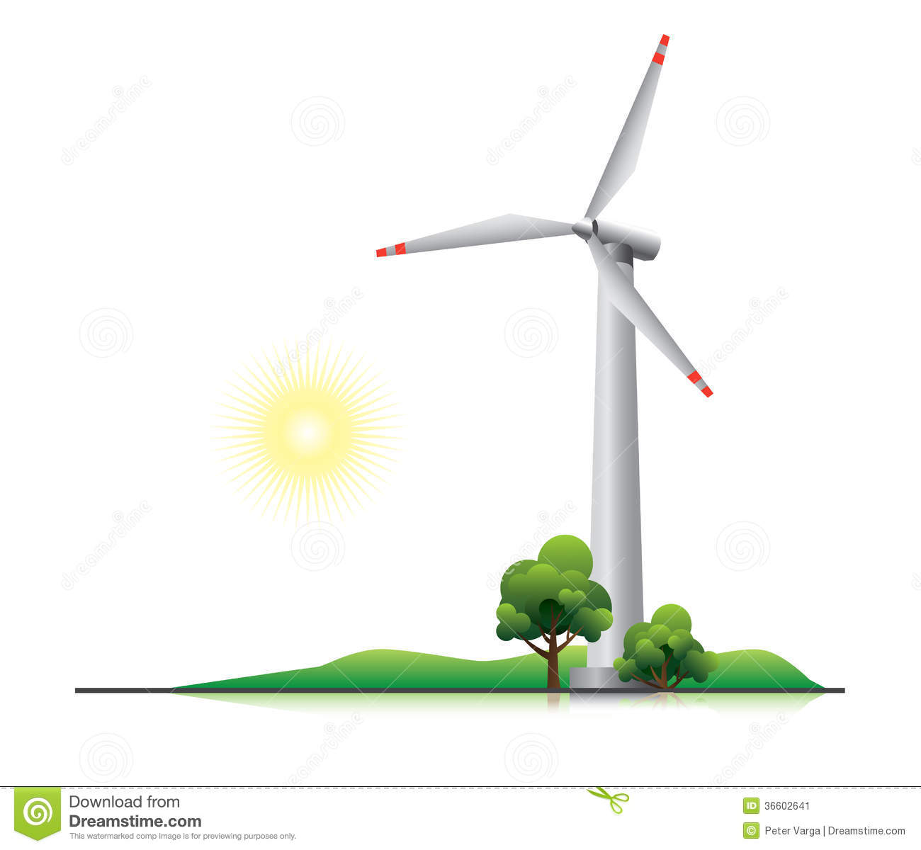 Wind turbine with trees and little hill. This illustration is EPS10 ...