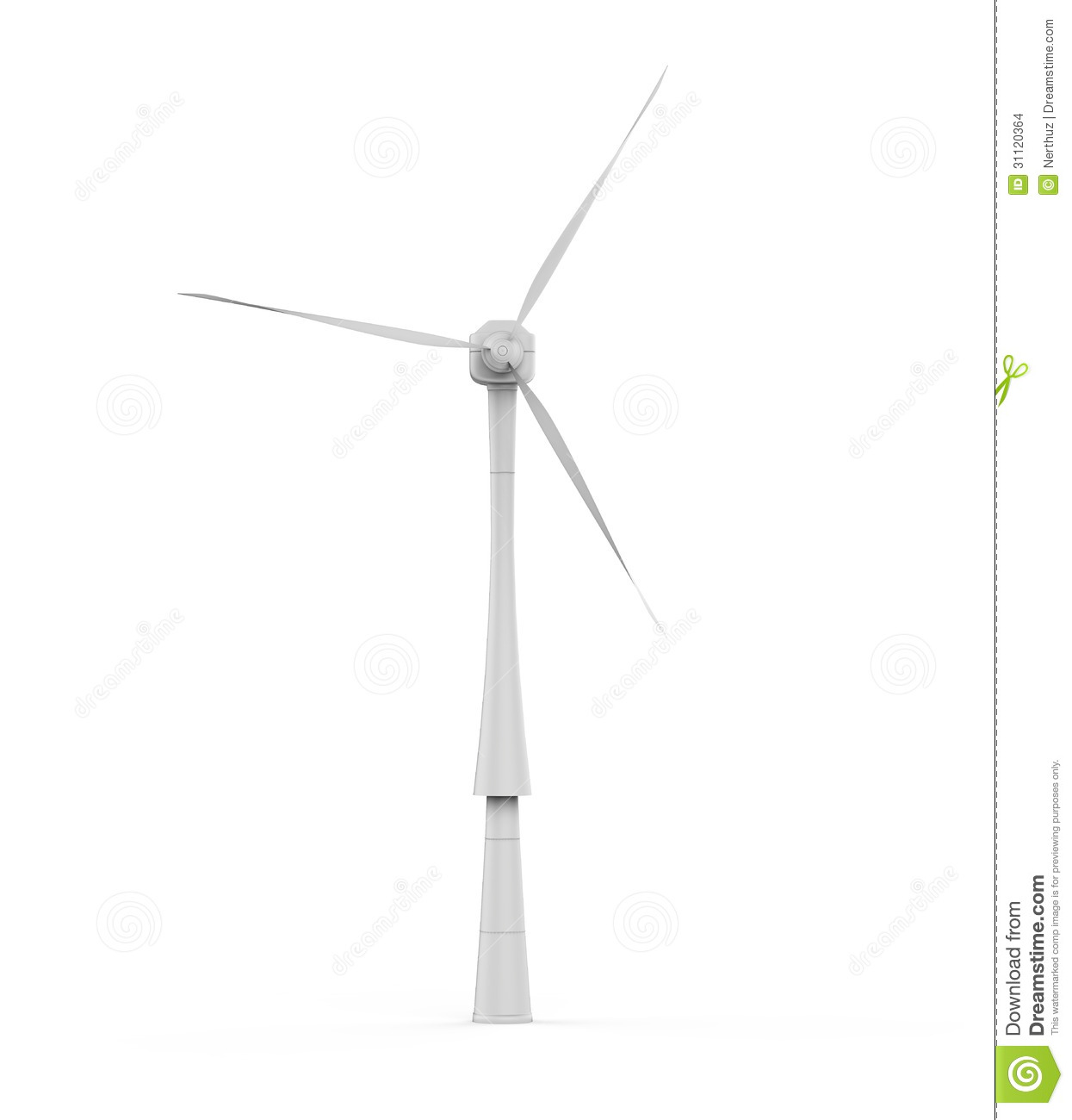 Wind Turbine on white background. 3d render.