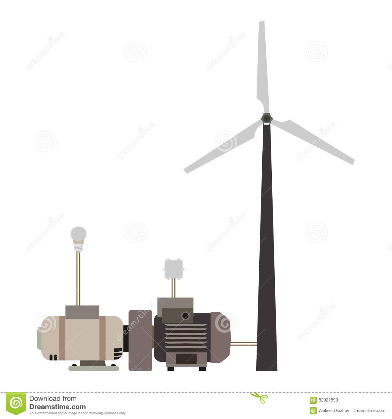 Wind Turbine Working Principle Diagram Stock Illustration Wiring