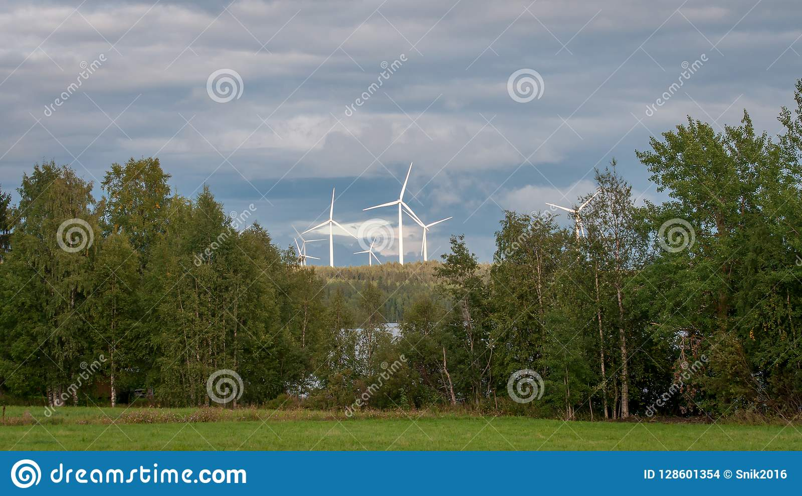 Wind turbines, converting the wind`s kinetic energy into electrical energy - ecologically clean source of energy.