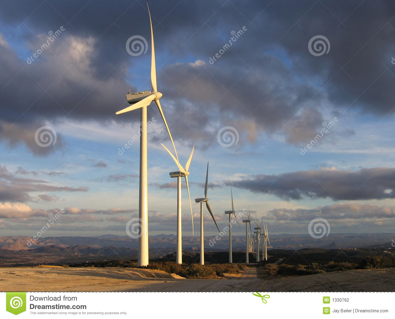 Wind turbines at dusk