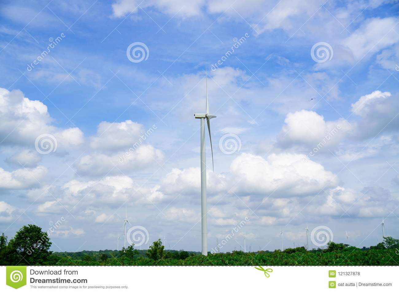 Wind Turbines Generating Electricity On Blue Sky Background Eco Power