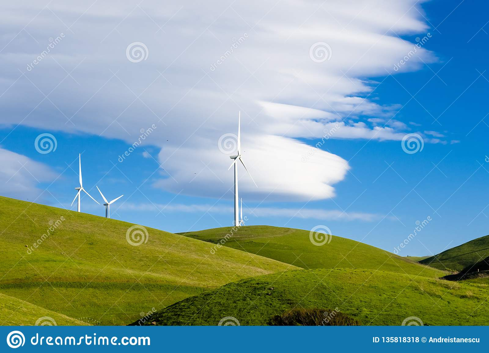 Wind Turbines On The Hills Of East San Francisco Bay Area, Altamont