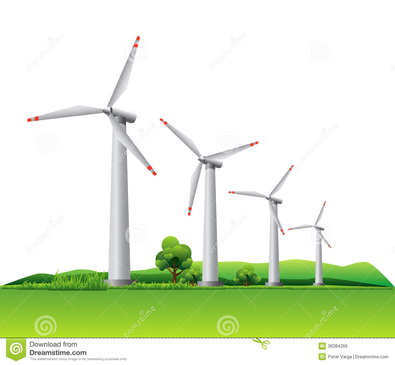 Four wind turbines on a meadow. This illustration is EPS10 vector file ...