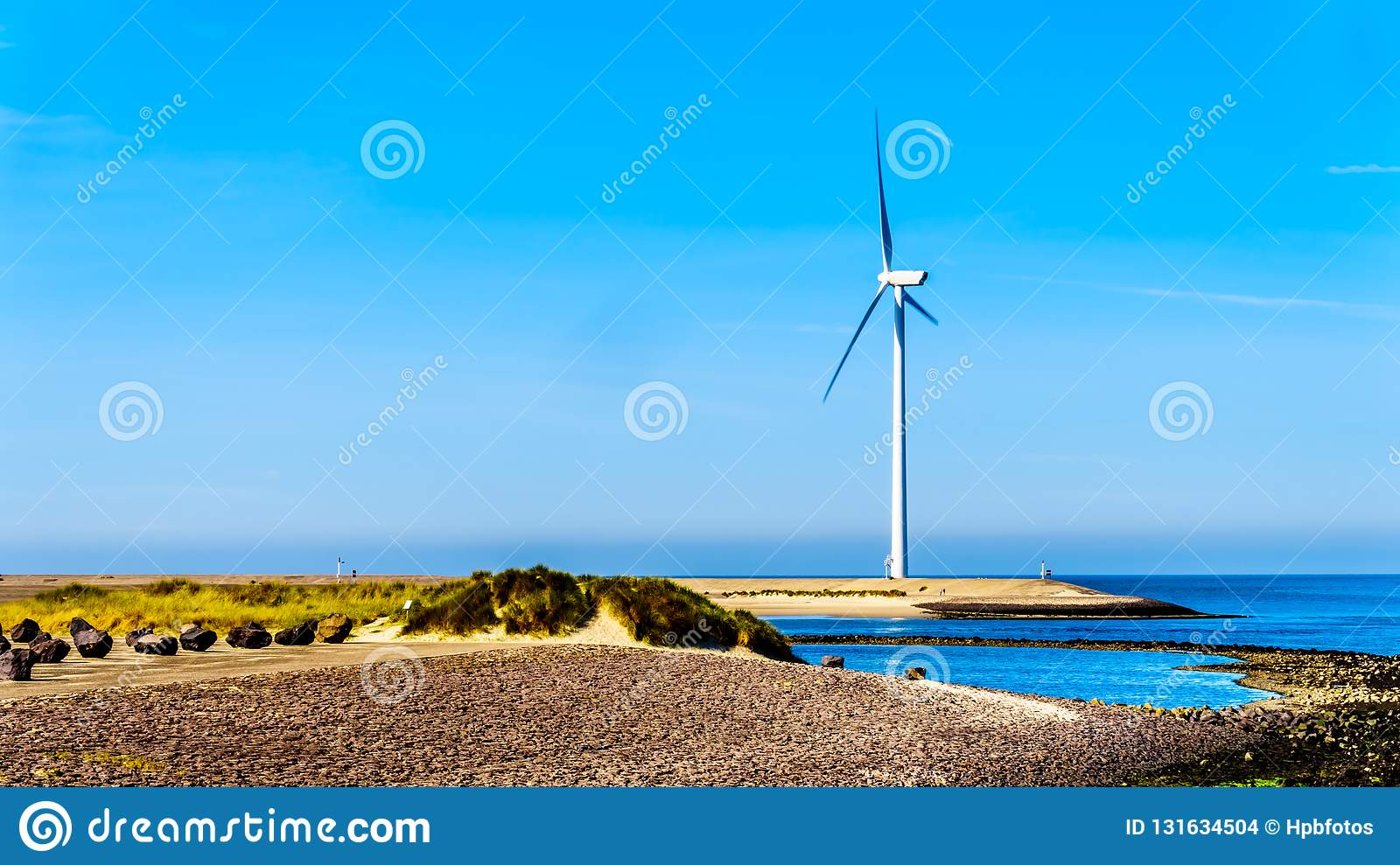 Wind Turbines at the Oosterschelde inlet at the Neeltje Jans island at the Delta Works Storm Surge Barrier