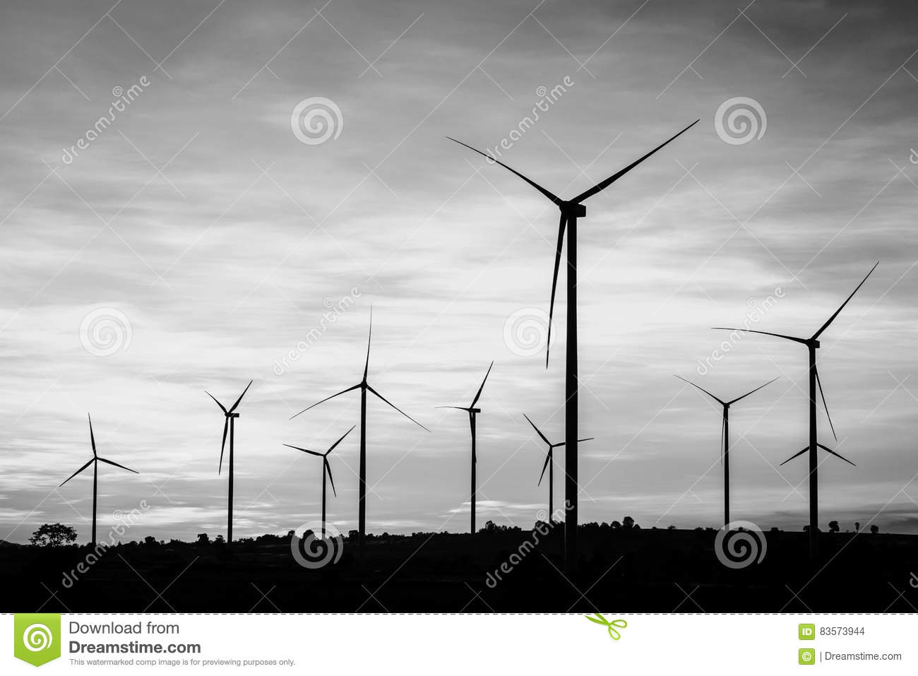 Wind turbines power generator at wind farm black and white col