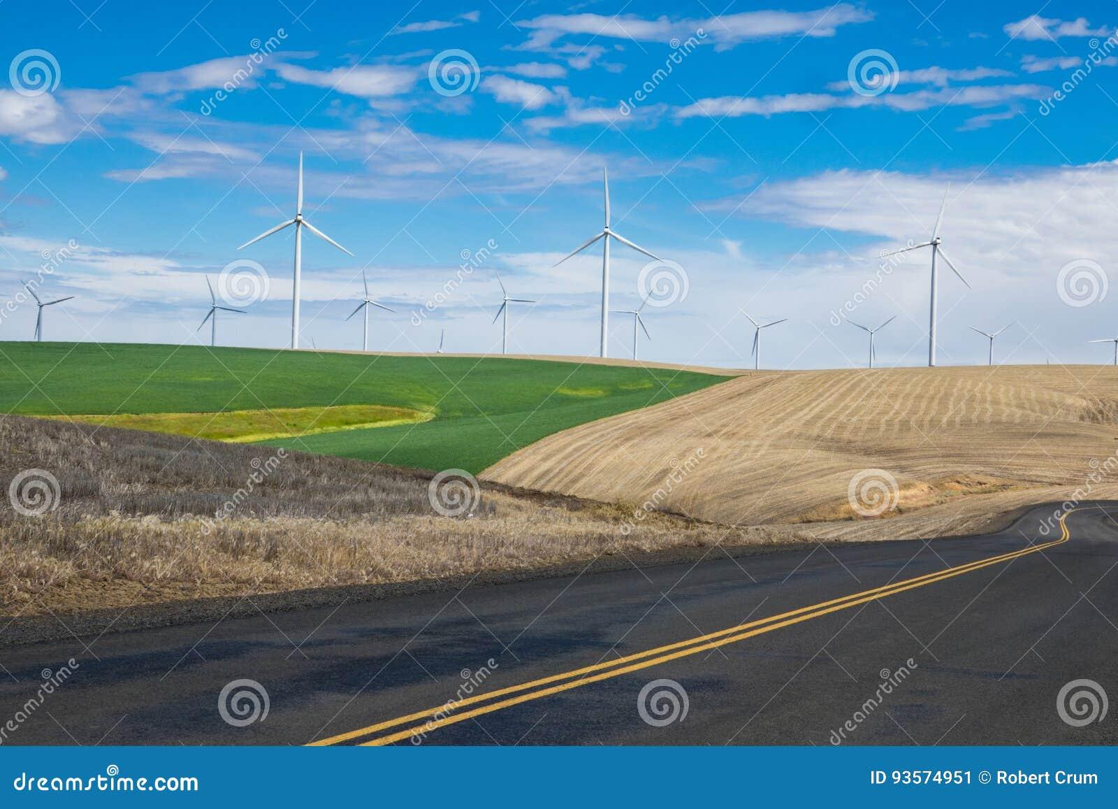 Wind turbines and wheat fields in Eastern Oregon