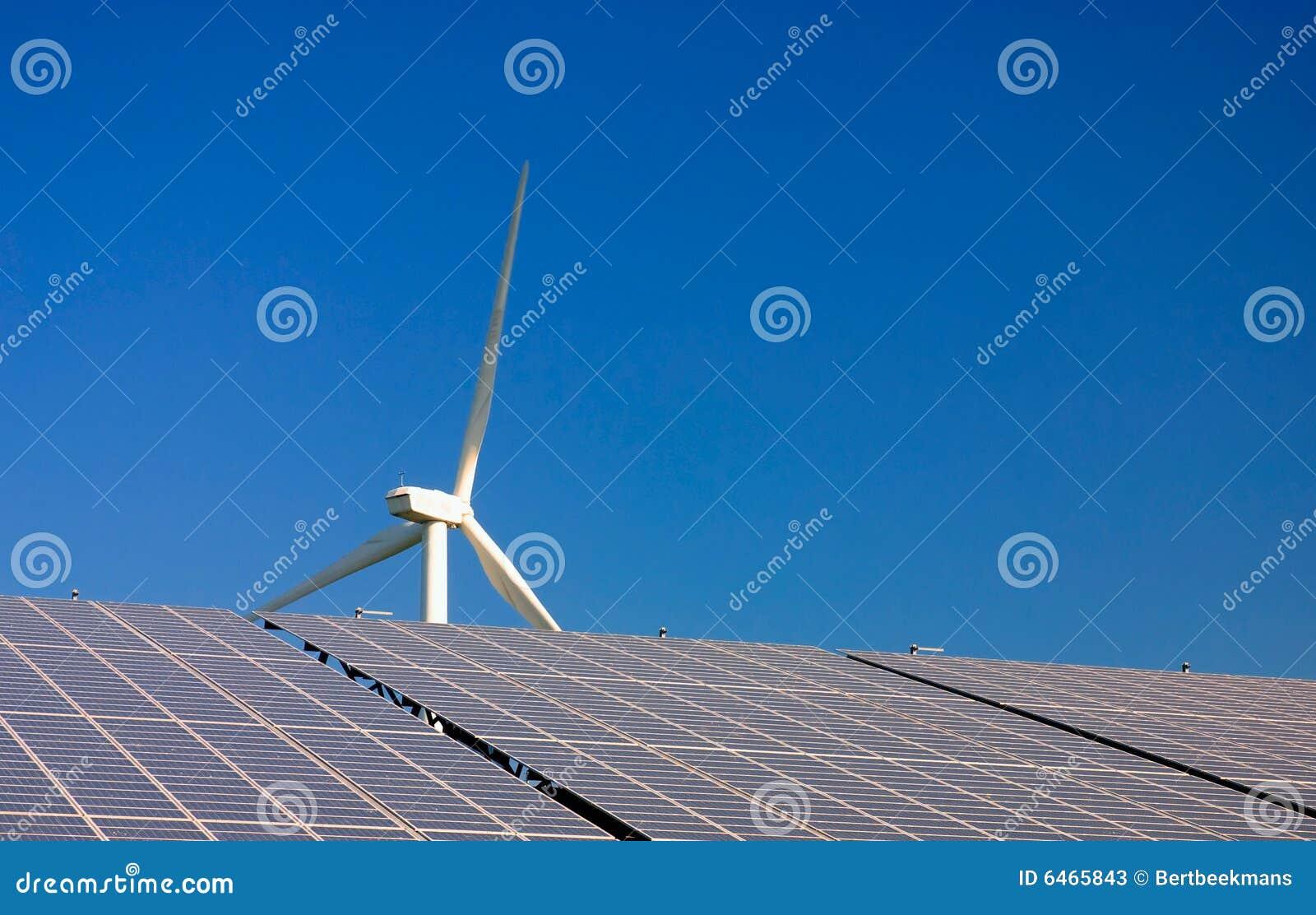 Wind turbines - solar cells power plant
