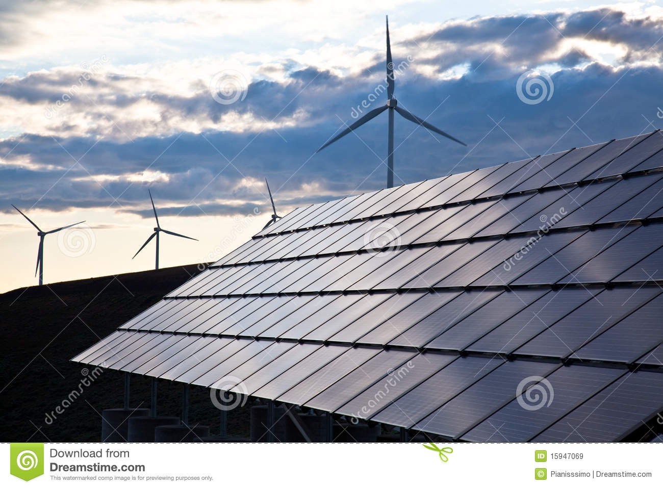 Wind Turbines And Solar Panels Royalty Free Stock Images - Image ...