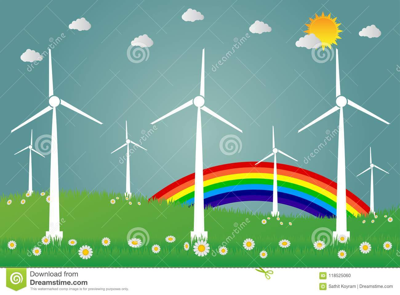 Wind Turbines With Sun Clean Energy With Road Eco-friendly Concept ...