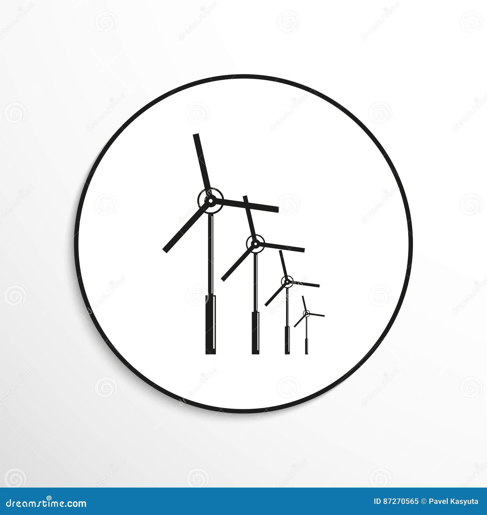 Wind Turbines Symbol Vector Icon Stock Illustration