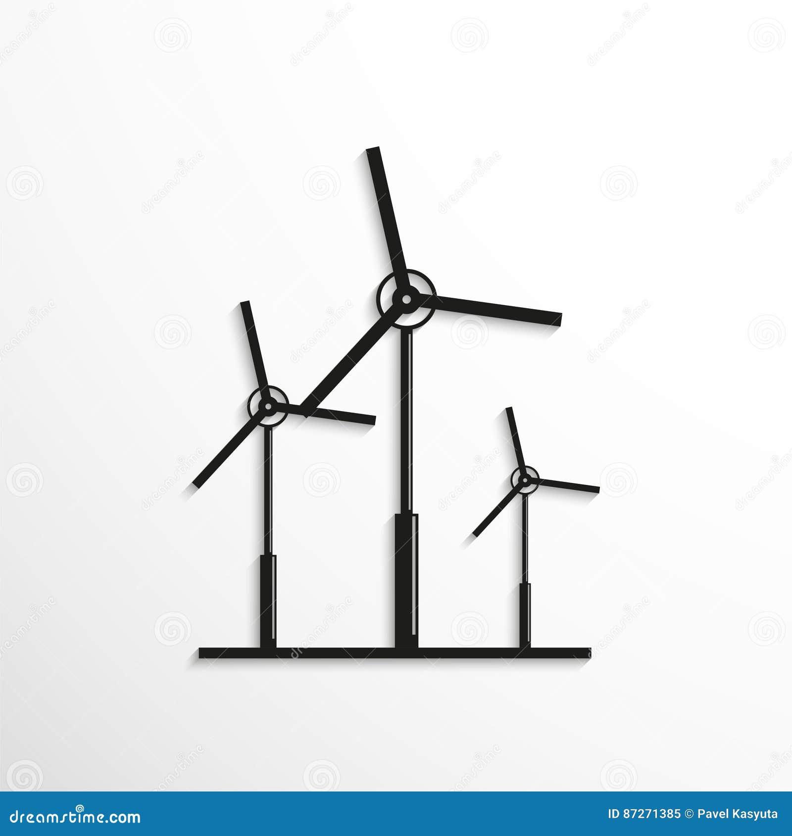 Wind Turbines Symbol Vector Icon Stock Vector Illustration Of