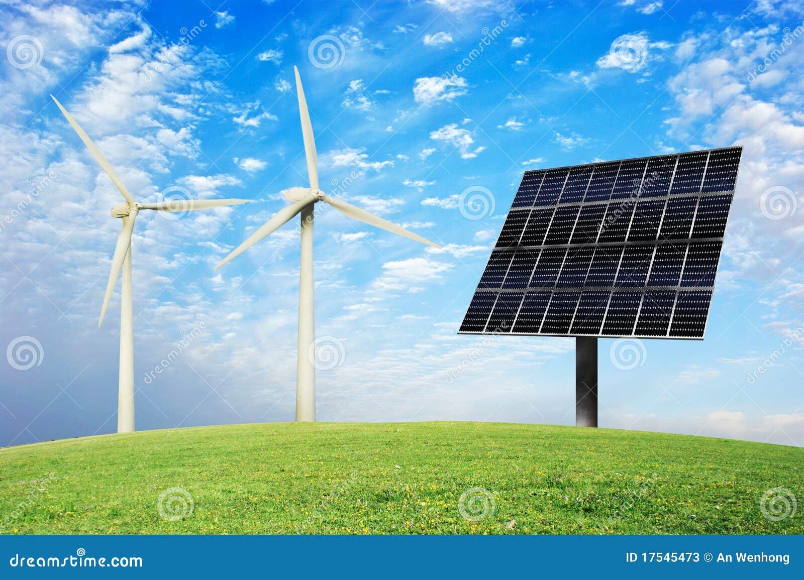 wind und sonnenenergie stockbild bild von umwelt gr n 17545473. Black Bedroom Furniture Sets. Home Design Ideas