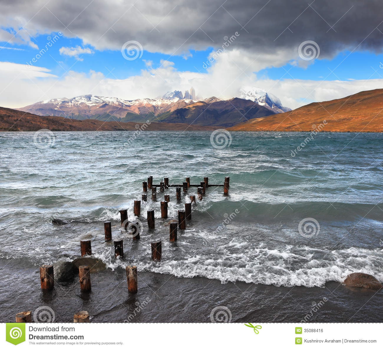 Patagonia South America >> The Wind And Waves At The Laguna Azul Royalty Free Stock Image - Image: 35088416