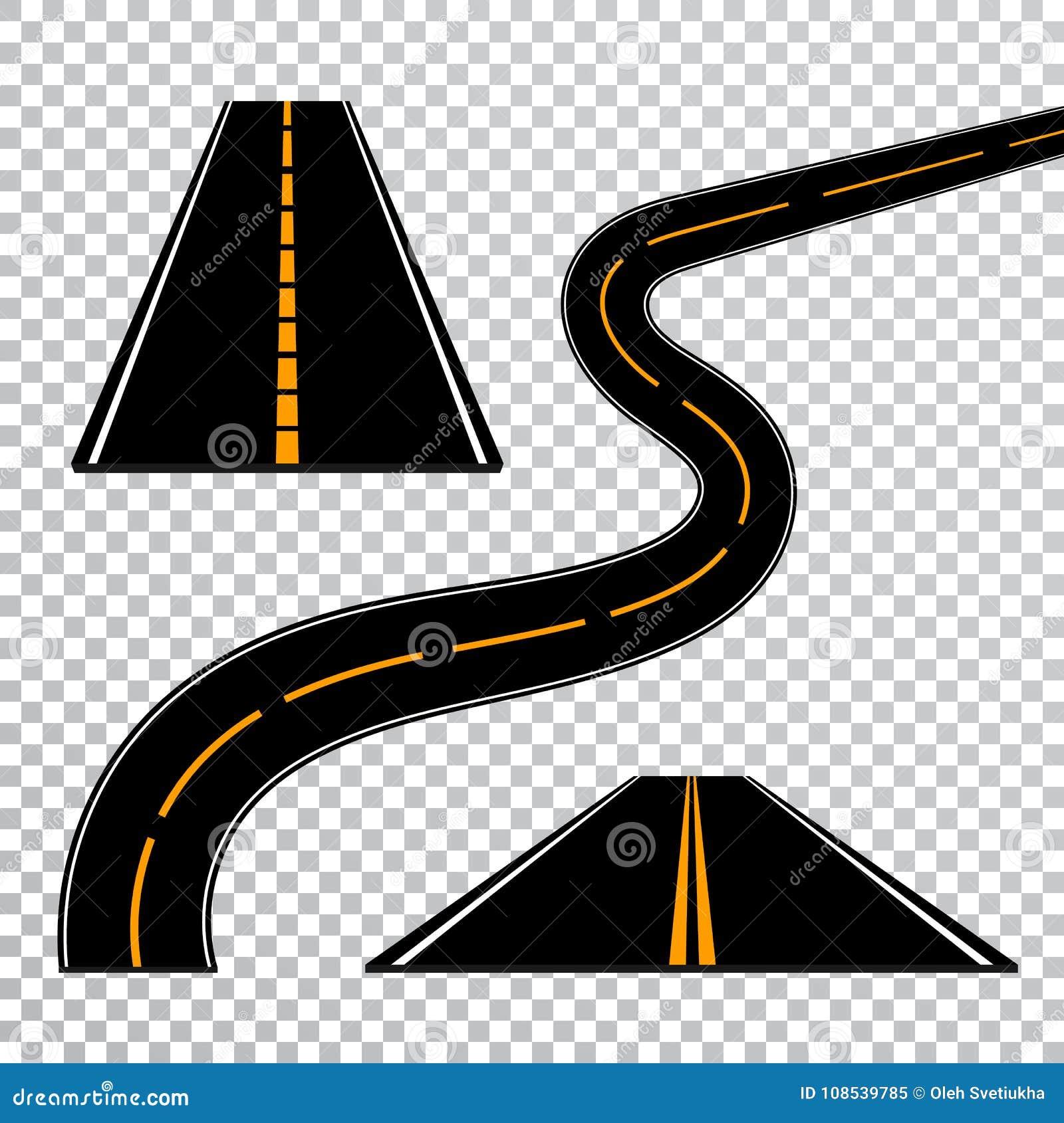 Windende gebogen weg of weg met noteringen Richting, vervoersreeks Vector illustratie