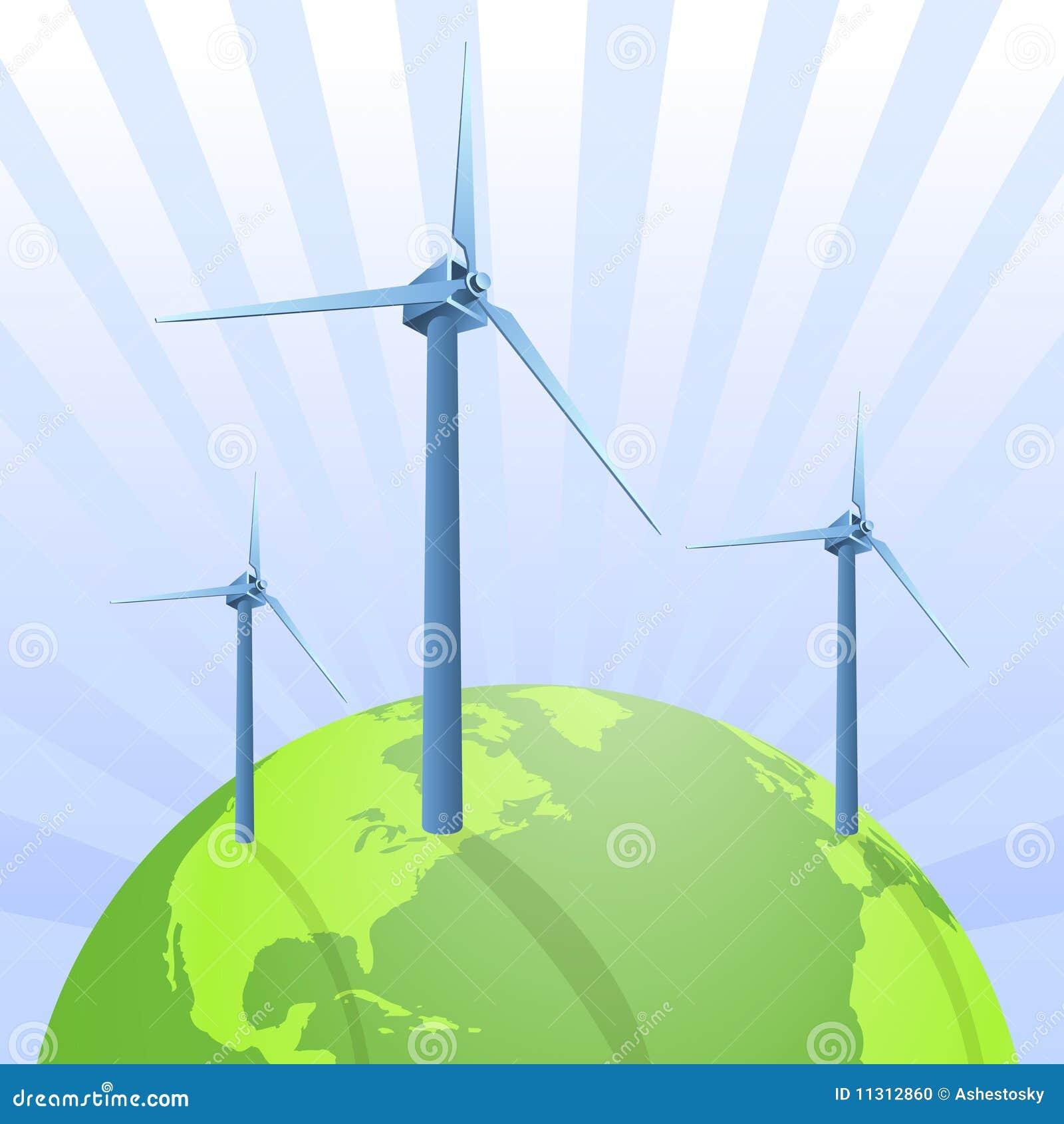 Windenergieeinsparung die Erde