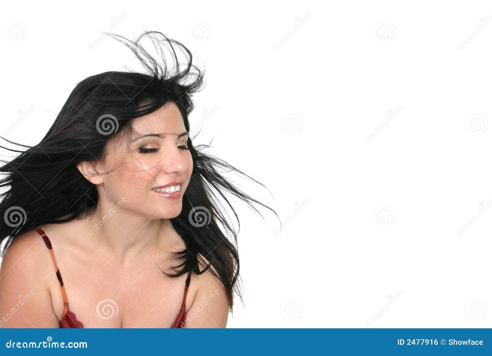 Winderige Donkerbruine Vrouw