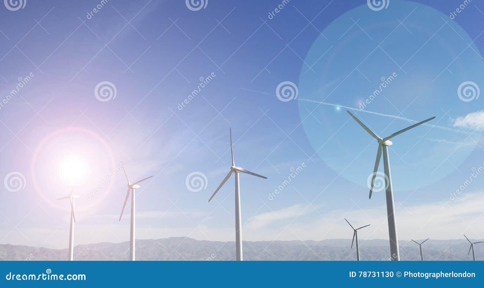 Windfarm och solsken