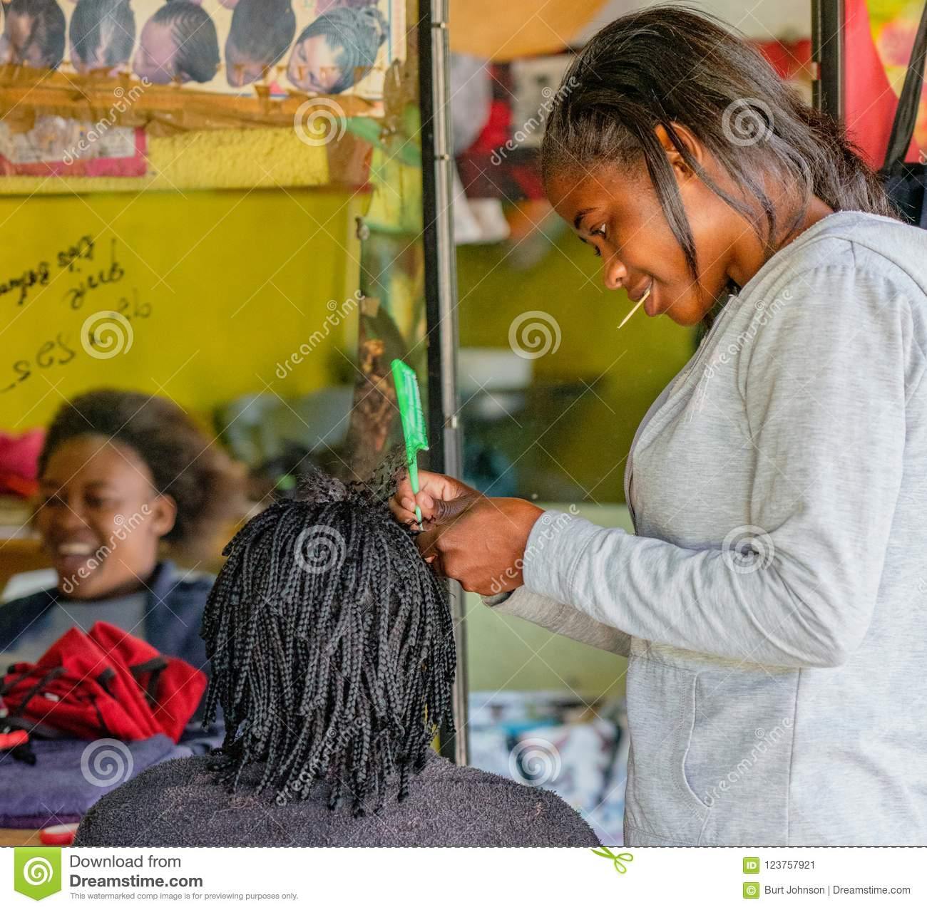 Windhoek South Africa July 6 2018 A Hair Stylist Works On A