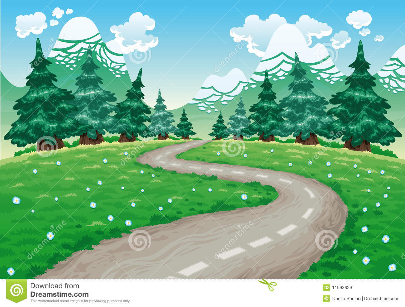 Winding Road In Countryside Stock Vector Illustration Of