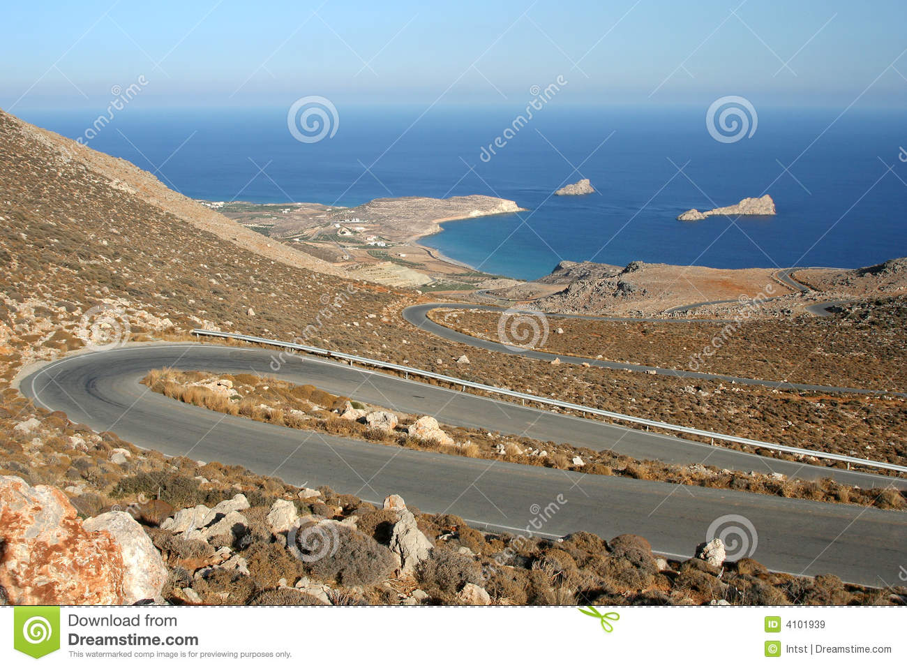 Winding road in Greece island Crete. Dry, hot and sunny scenic ...
