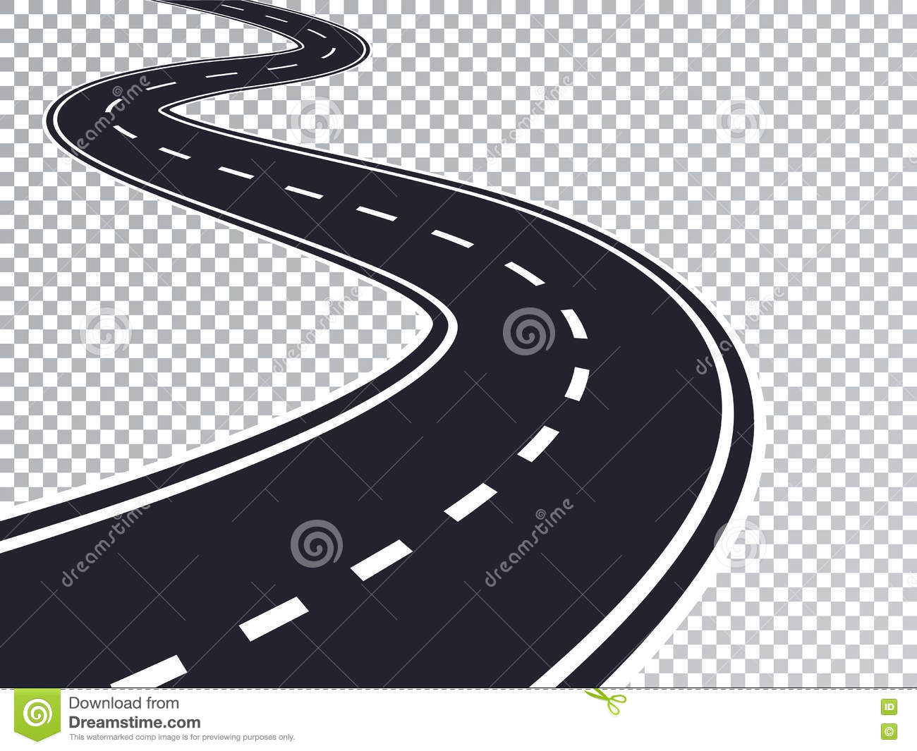 winding road isolated transparent special effect stock vector