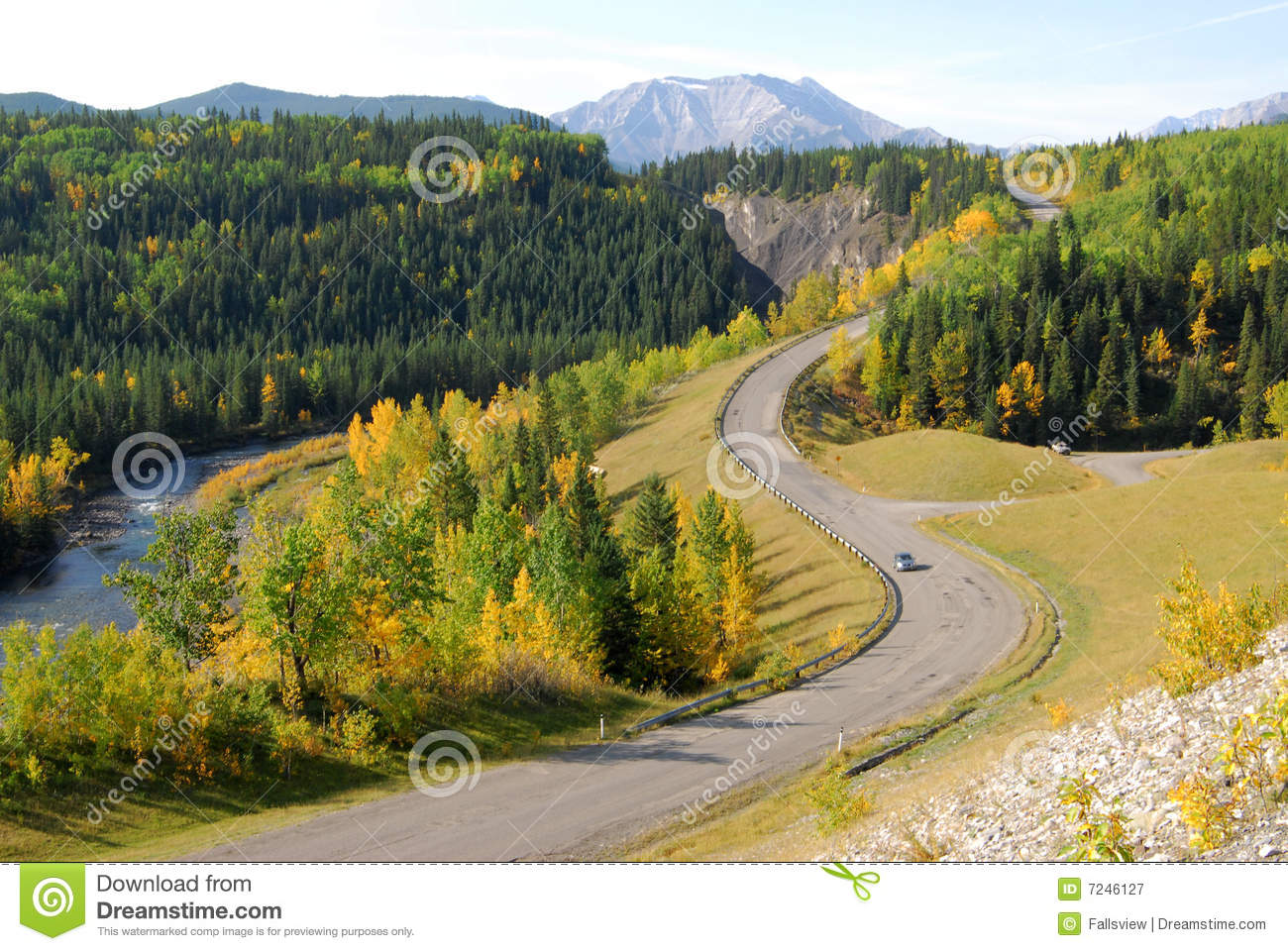 Winding road in river valley