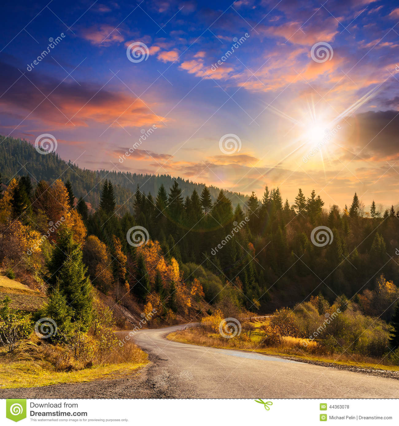 Winding road to forest in mountains at sunset