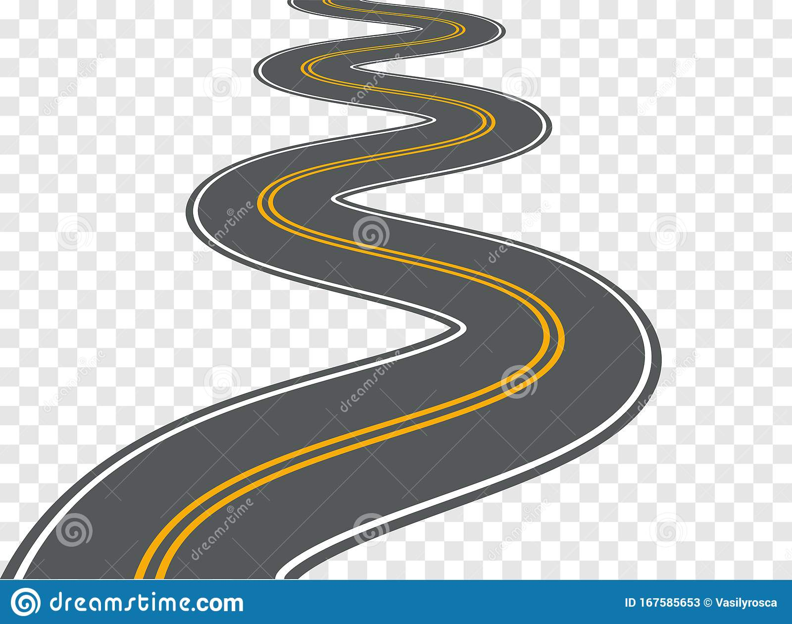 Winding Road Vector Highway Path Long Street Asphalt ...
