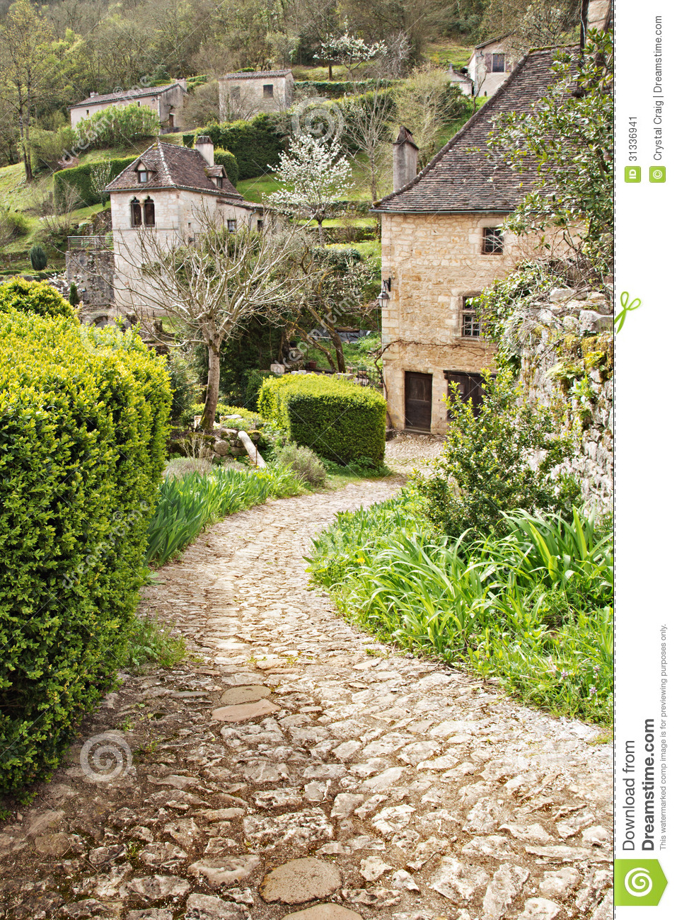 Winding Stone Path To Stone Cottage Stock Image Image