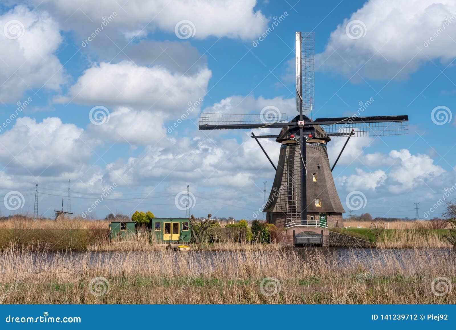 Windmühle in Kinderdijk nahe Rotterdam die Niederlande