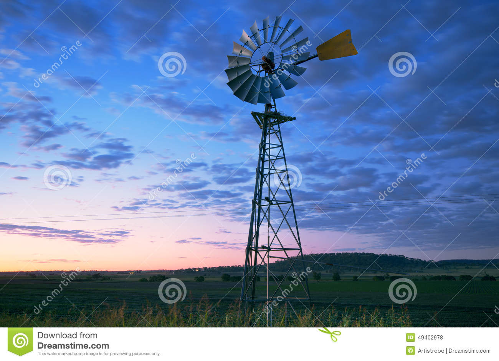Download Windmühle in Brisbane stockfoto. Bild von dürre, landwirtschaftlich - 49402978