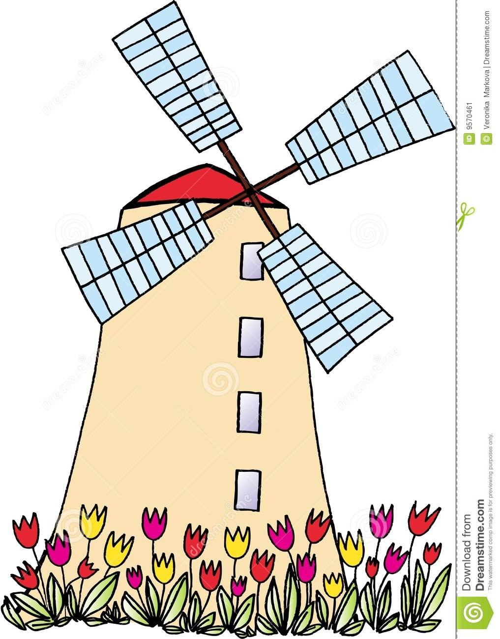 Wind Mill Clip Art Windmill with tulips on white