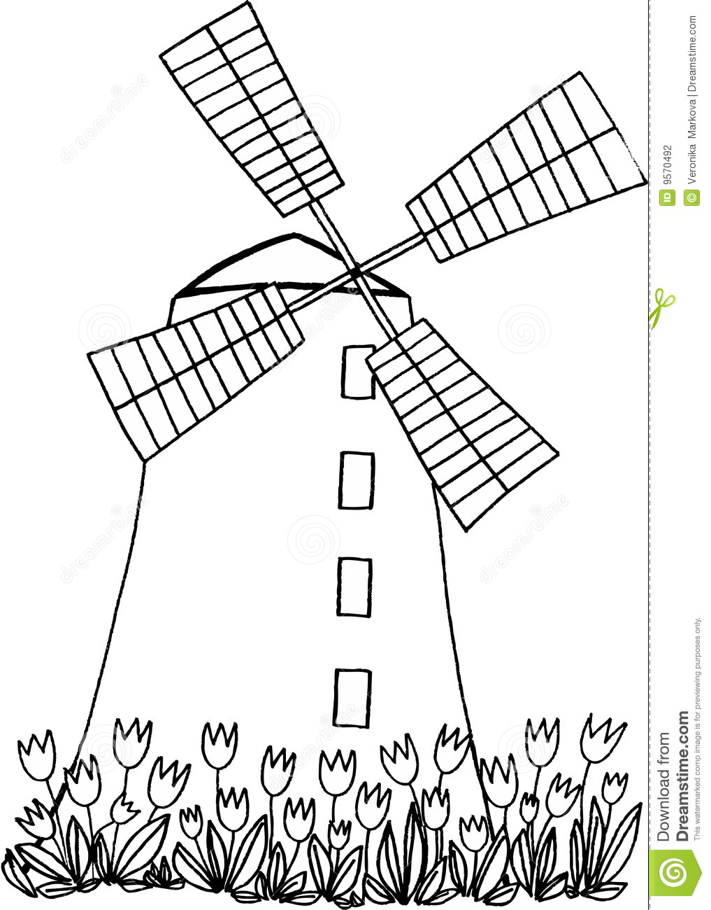 Windmill with tulips on white background. vector image.