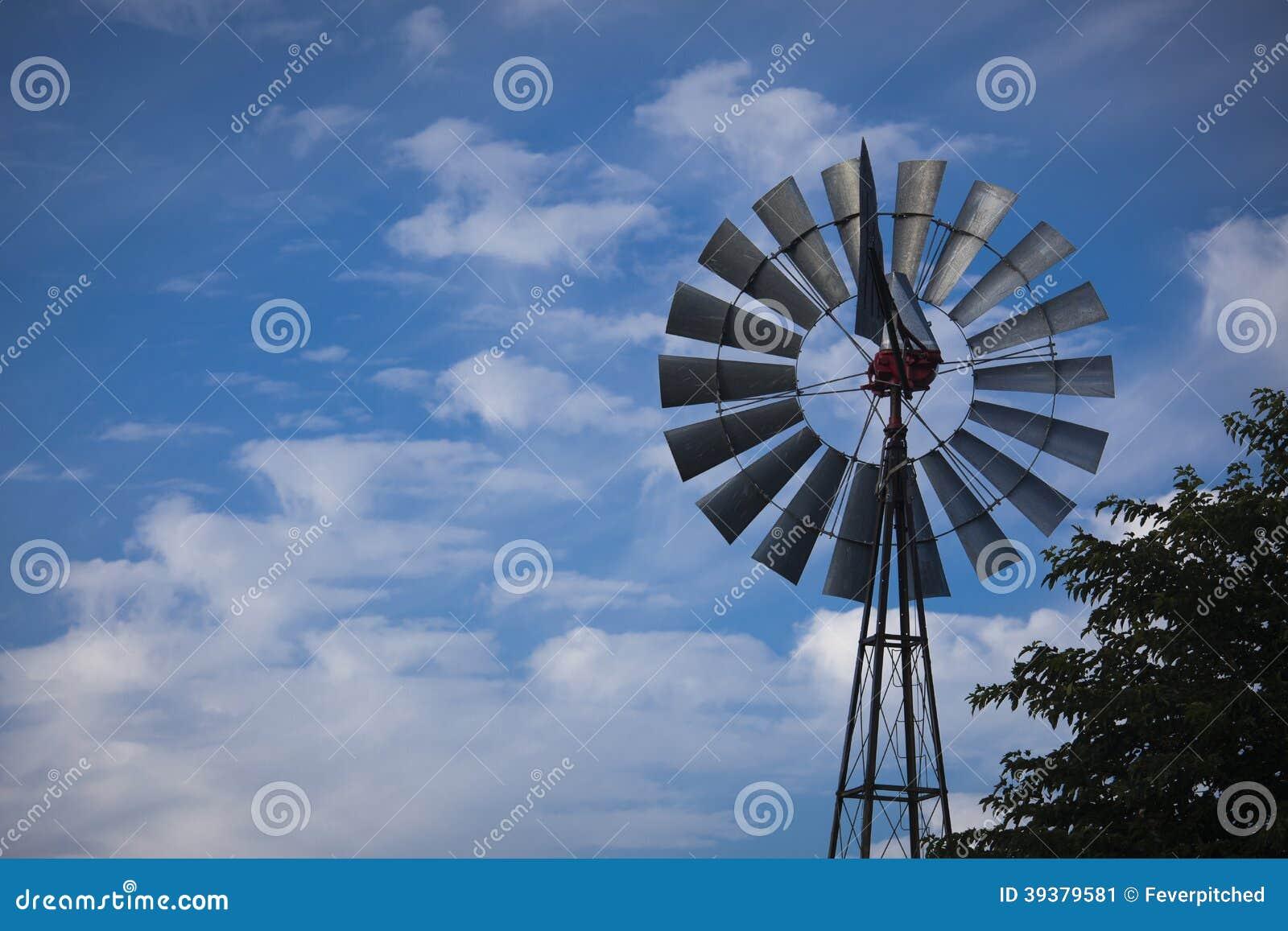 Windmill Against a Deep Blue Sky