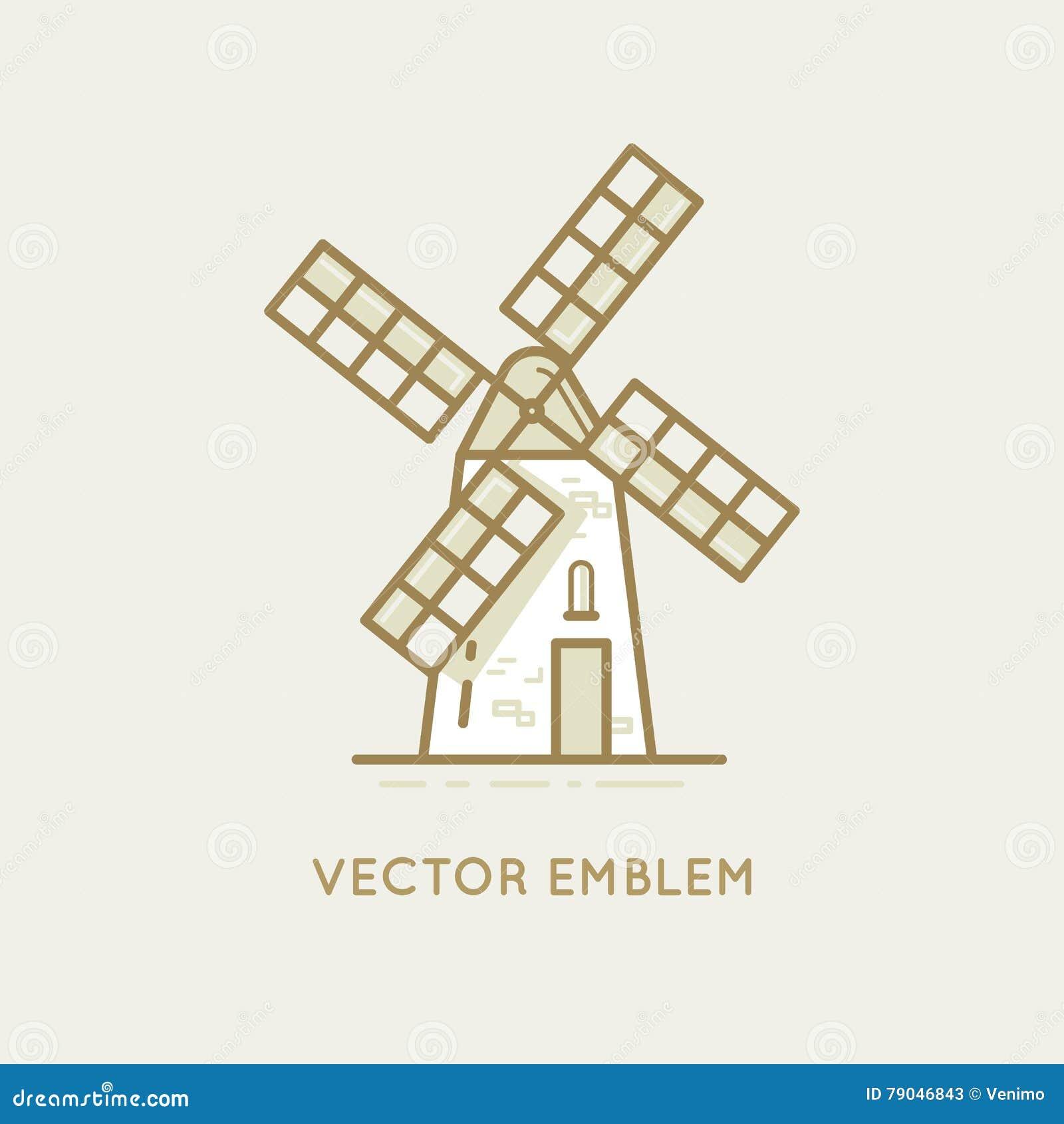 windmill bakery emblem stock vector illustration of label 79046843