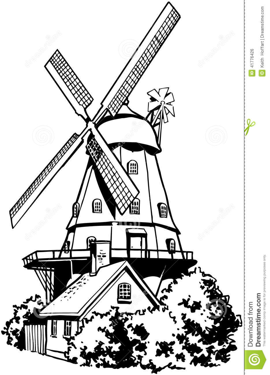Windmill Vector Clipart created in Adobe Illustrator in EPS format for ...