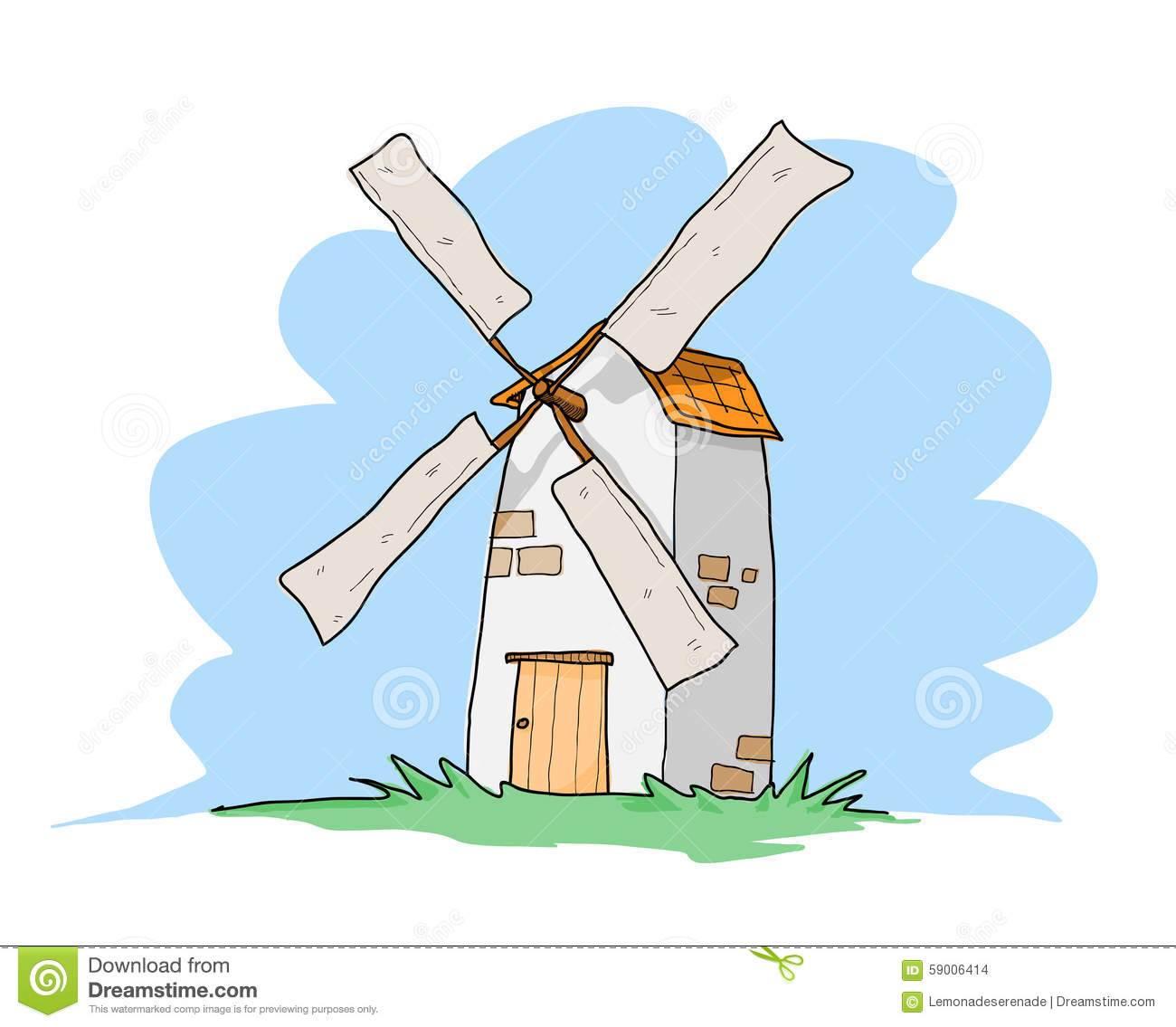 hand drawn vector illustration of a Windmill, isolated on a simple ...