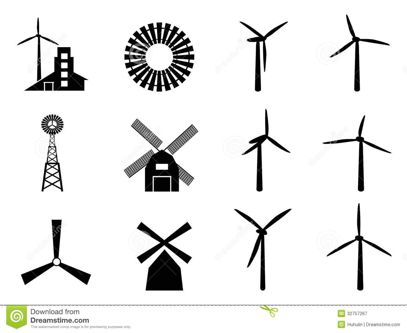 Windmill Icons Royalty Free Stock Photography - Image ...