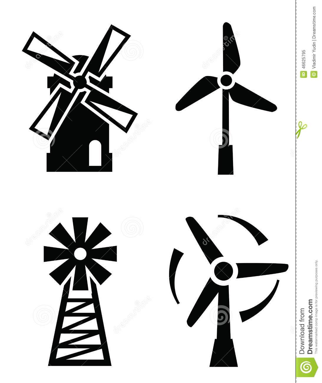 Windmill Icons Stock Vector - Image: 46625795