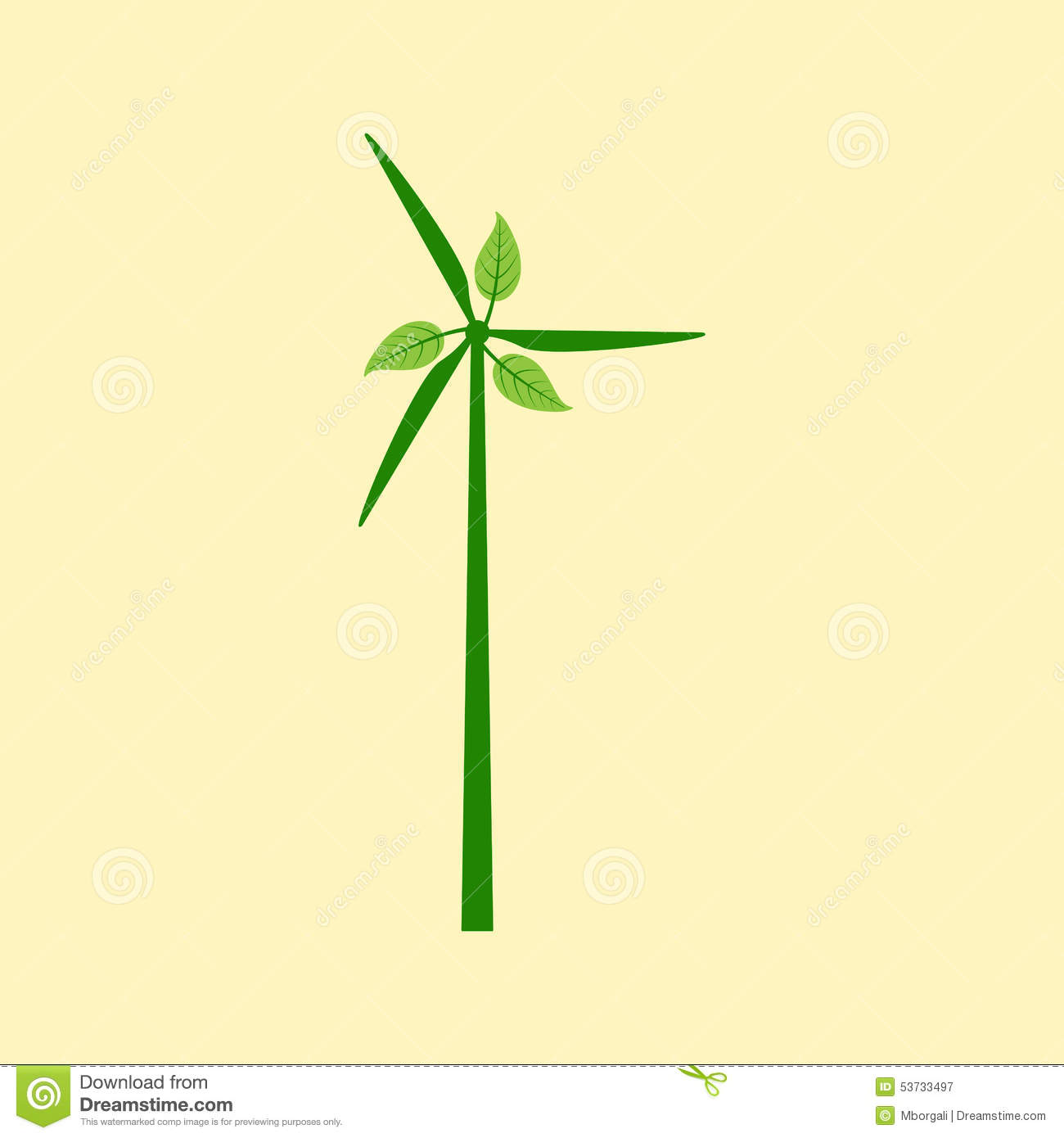 windmill with leaves stock vector illustration of design 53733497