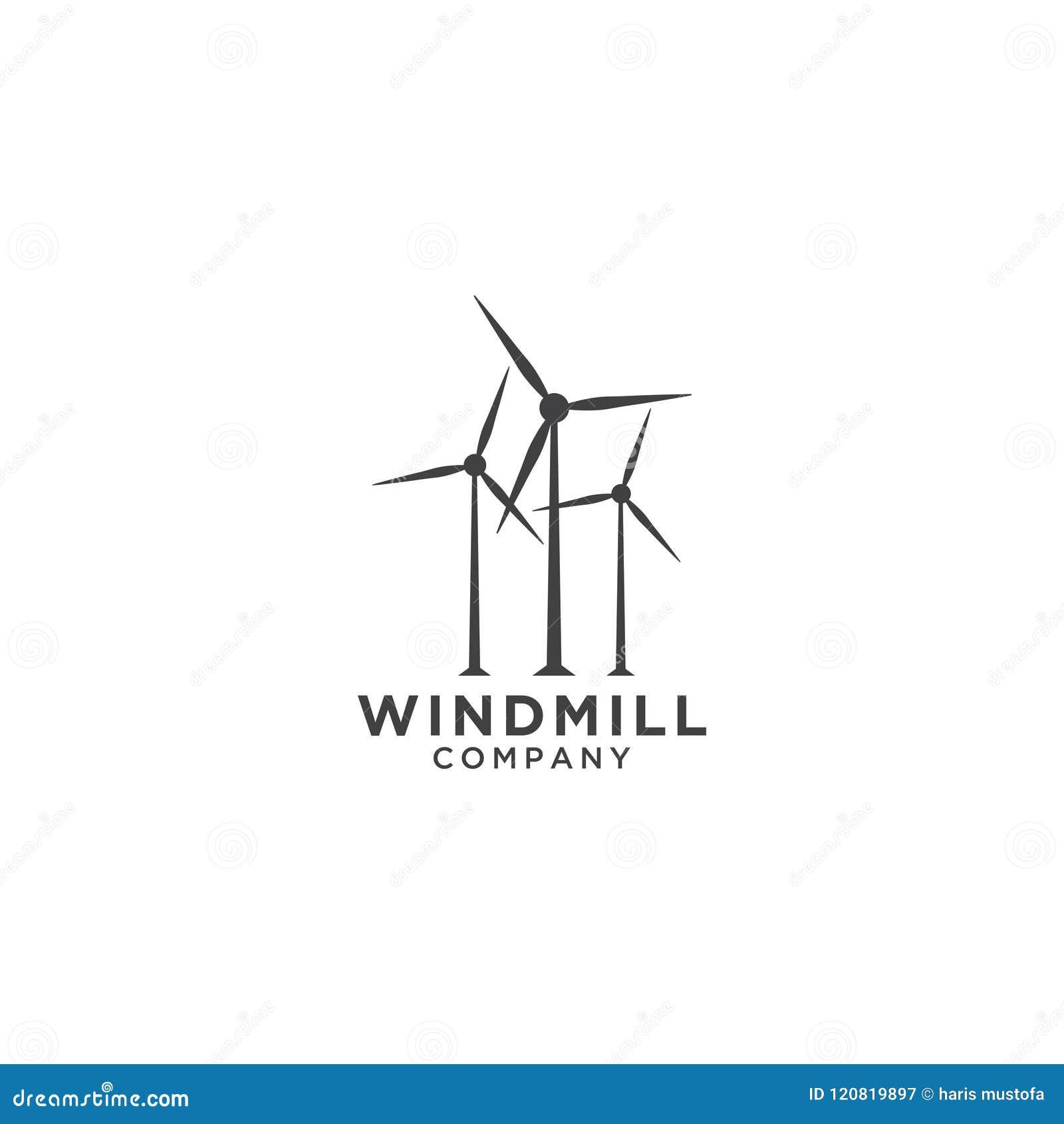 windmill logo design template stock vector illustration of wheat
