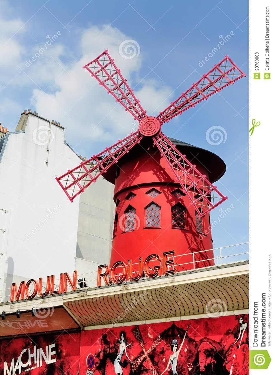 Windmill On The Moulin Rouge Paris Editorial Image
