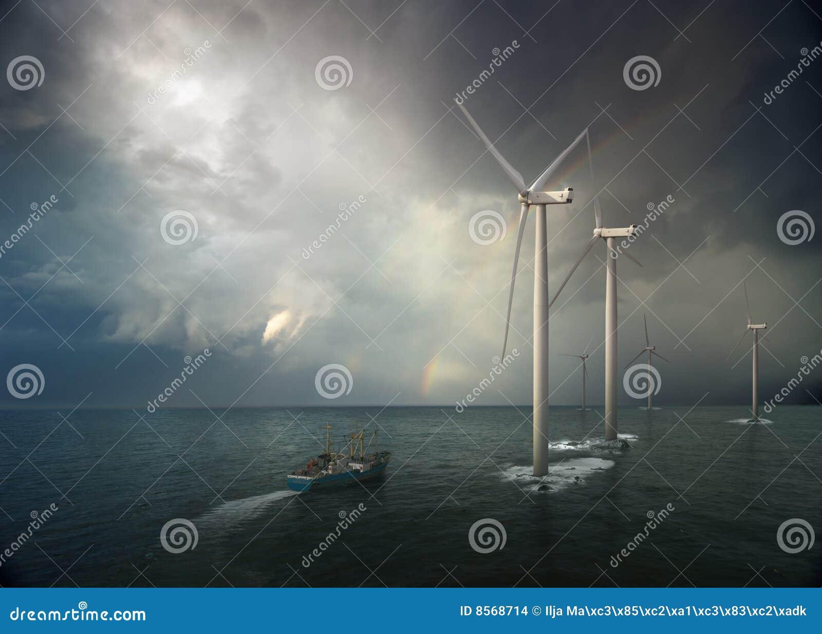 Windmill in ocean