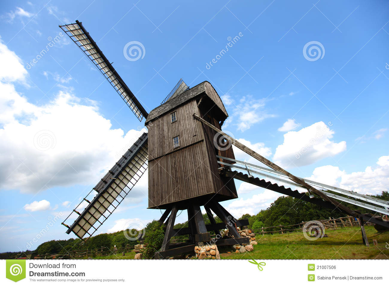 Windmill, Old And Wooden For Milling Grain Royalty Free Stock Image ...
