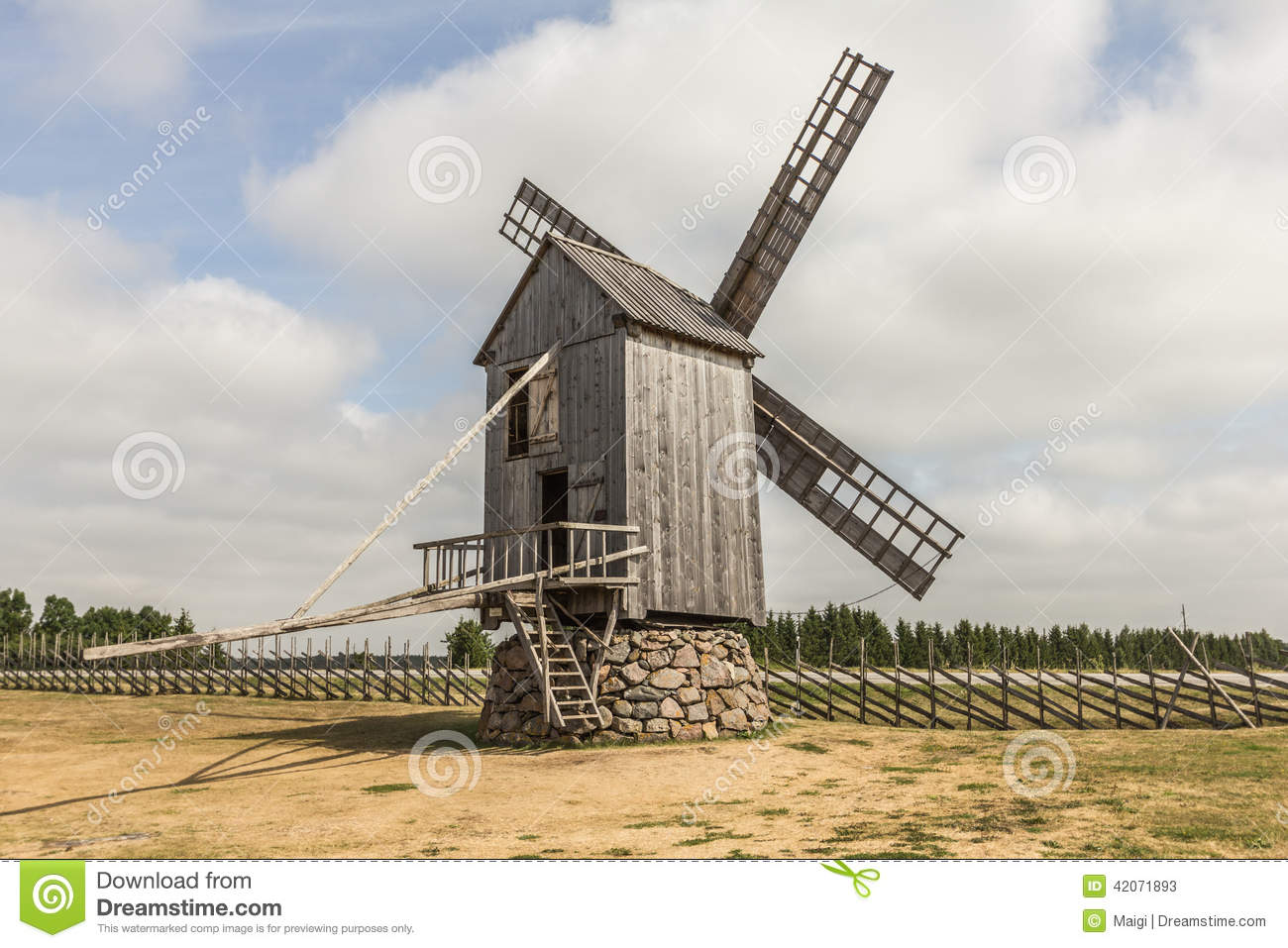 Download Windmill By The Road stock image. Image of mills, mill - 42071893