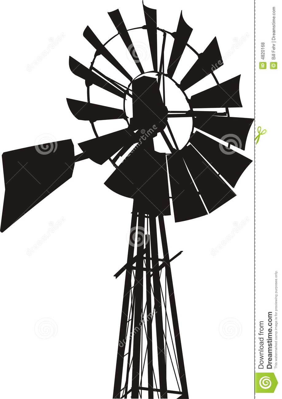 Windmill Silhouette Stock Vector Illustration Of Wind
