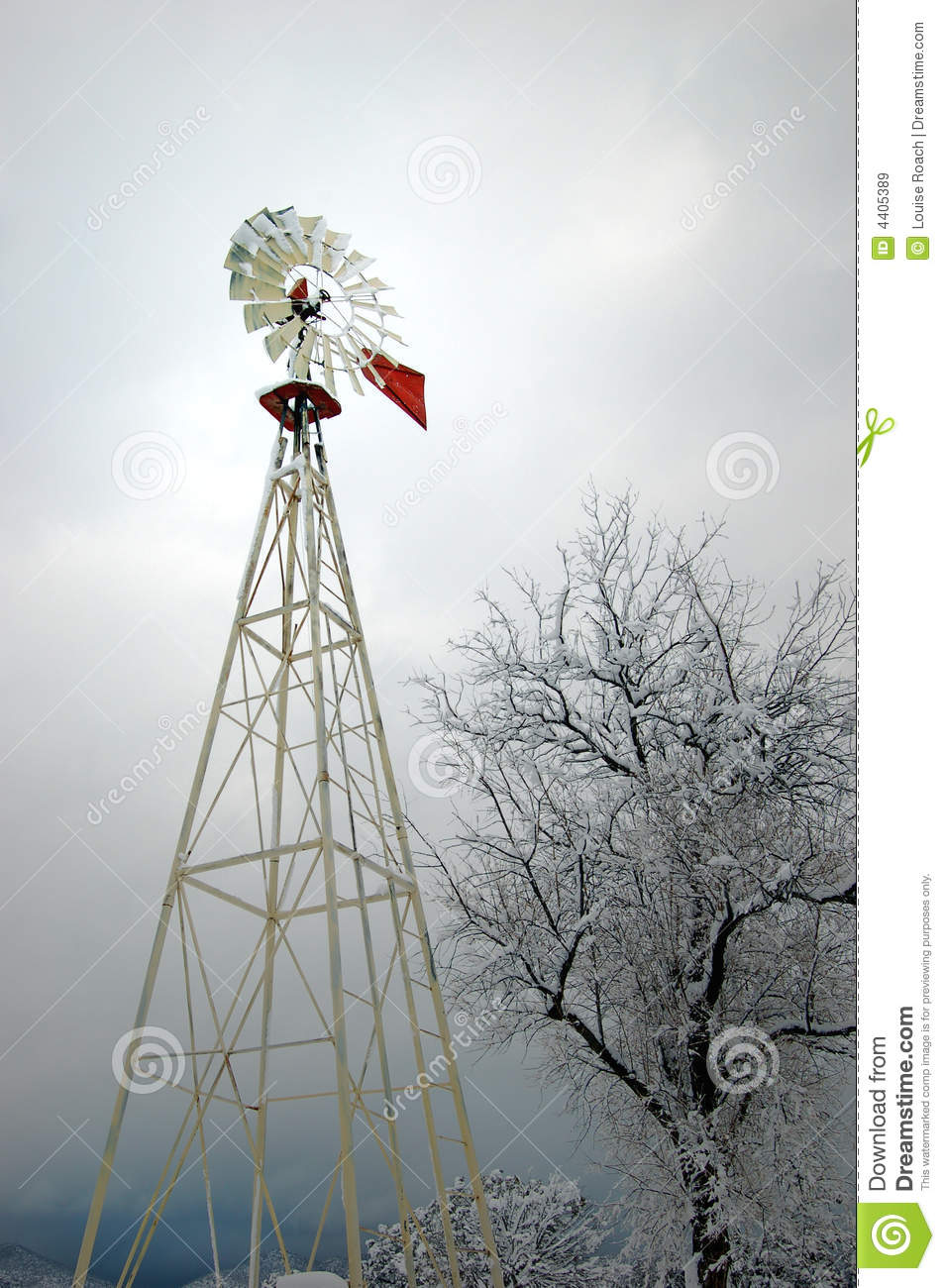 Windmill In The Snow Stock Image Image Of Mexico Agriculture 4405389